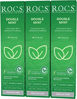 R.O.C.S. Double Mint Toothpaste - Mineralin Complex Formula with Calcium, Bromelain and Xylitol - Best for Removing Plaque...