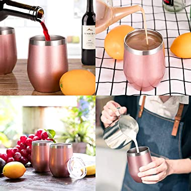Zonegrace 4 Pack Rose Gold 12 oz Stainless Steel Stemless Wine Glass Tumbler Double Wall Vacuum Insulated Wine Tumbler with L