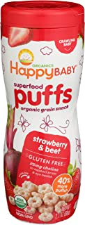 Happy Baby Organic Superfood Puffs Strawberry 2.1 Ounce Canister