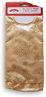 Holiday Time 18 Inch Miniature Christmas Tree Glittery Skirt - Gold Snowflake