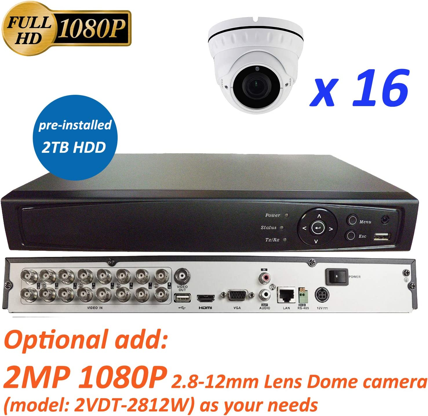 16CH lowest price 5in1 IP TVI AHD CVI 2M Surveillance CVBS DVR Analog Denver Mall +