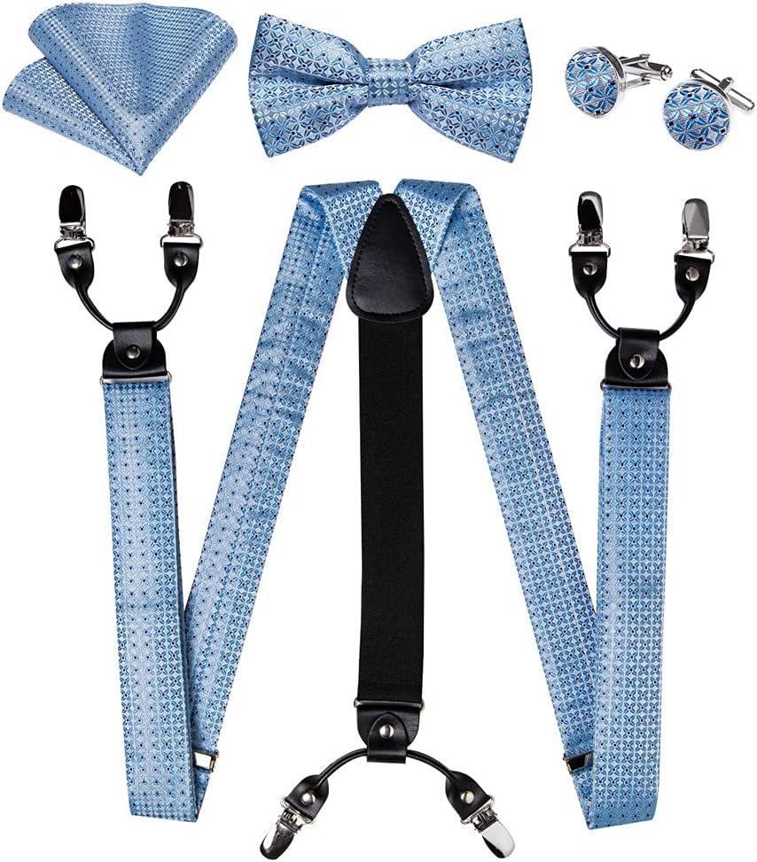 WSSBK Mens Suspender 6 Clips Braces Y Shape Silk Suspenders Bow Tie Brooch Pocket Square Set Men Accessories (Color : A, Size : Adjustable)