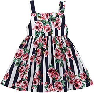 OLEK Toddler Girls Casual Dress Cotton Cartoon Summer Short Sleeve Sleeveless Dresses for Kids