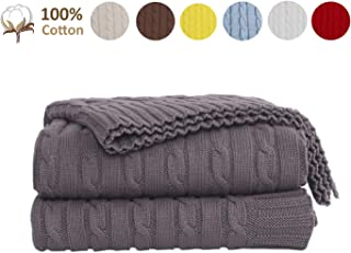 JSHANMEI 100% Cotton Cable Knit Throw Blanket for Couch Chair Beach Sofa, Soft Warm Home Decorative Lightweight Blanket, Grey 51 x 70 Inch