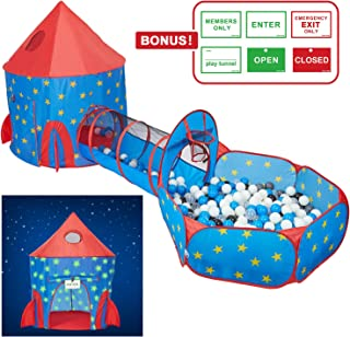 HAN-MM 3pc Play Tent Ball Pit with Tunnel Stars Glow in The Dark, Tunnel & Ball Pit Basketball Rocket Ship Astronaut Hoop Toys with Bonus Message Signs for Indoor Outdoor Camping