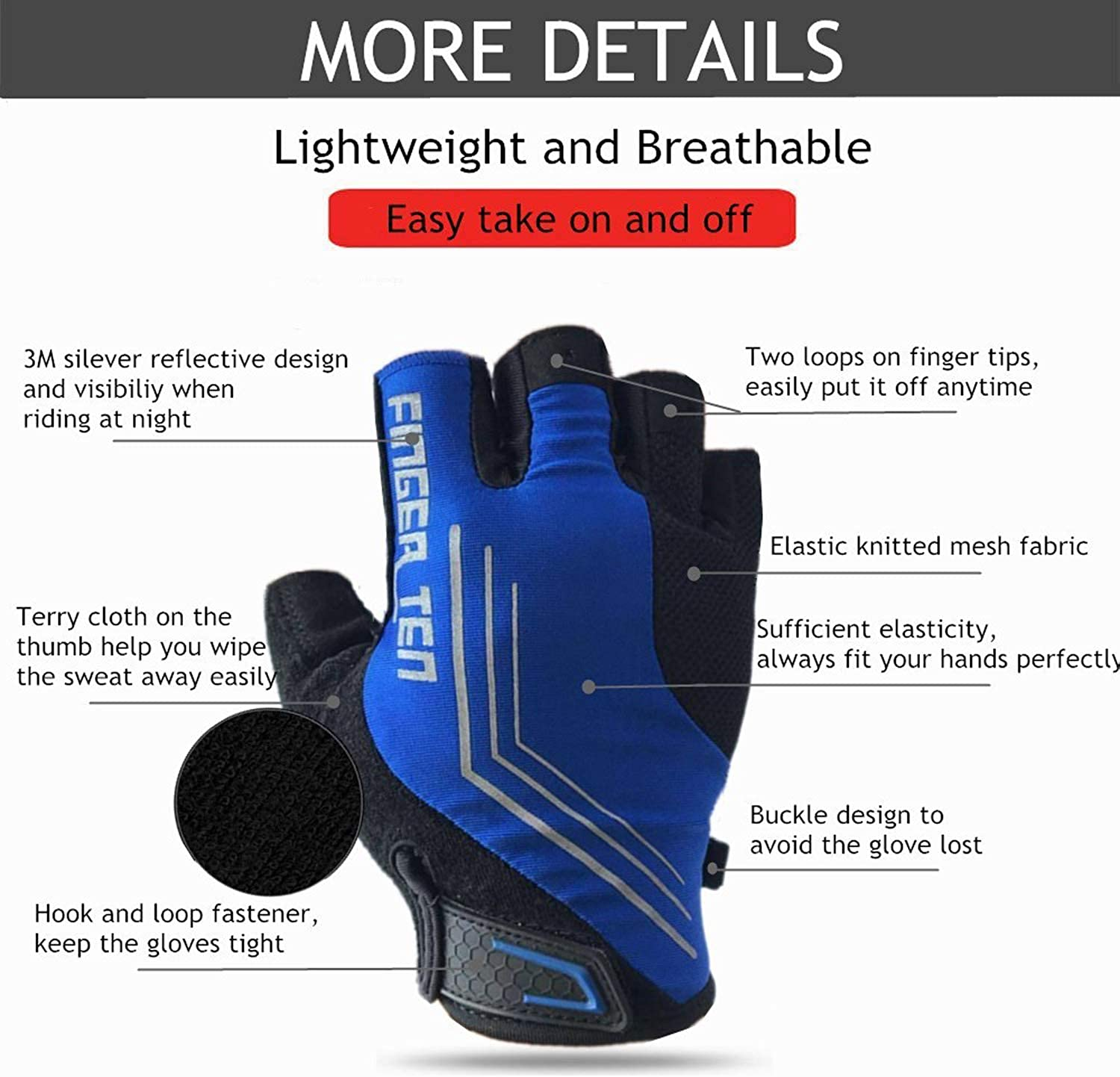 Cycling Gloves Men Half Finger Anti Slip Rode Bicycle Bike Mountain Biking Pair Gel Padded Breathable Shock Absorbing Cycle Glove for Motorcycle MTB Outdoor Sports