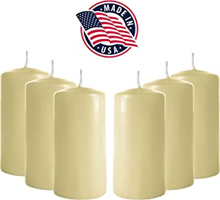 3x6 Pillar Candles (Set of 6) Unscented Pillar Candle Bulk – Tall Pillar Candles for Weddings, Parties, Restaurants, Spa, Bath, Massage Therapy, Religious Ceremonies and Holidays (Ivory)