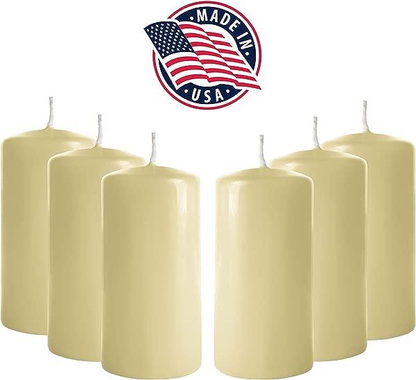 3x6 支柱蜡烛一套 6 个无味支柱蜡烛散装高支柱蜡烛婚礼派对餐厅水疗浴缸按摩疗法宗教仪式和节日象牙