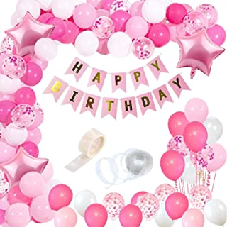 Party Propz Girls Happy Birthday Balloons Banner Decorations Kit Combo- 96Pcs for Girl Kids Baby First Bday Decoration Ite...