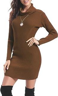 Aibrou Vestito Maglioni Donna Invernali Eleganti Collo Alto a Manica Lunga Pullover Abito in Maglia Slim Vestito Aderente ...