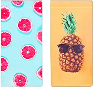 Tense Pineapple Portable Eyeglass Pouch Sunglass Goggles Case for Woman, 2 Pack Squeeze Top Case