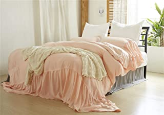Moowoo Vintage Farmhouse Bedding, 3 Pieces Ruffle Duvet Cover Set 100% Washed Cotton Romantic Mermaid Tail French Country Style Duvet Cover with Ties (Pink, Queen)