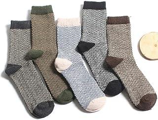 5 Pares De Calcetines Gruesos De Invierno para Mujer, Calcetines A Rayas Casuales, Calcetines A Rayas Ondulados, Calcetines Cálidos para Adultos