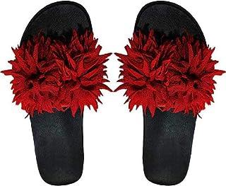 WMK Women's Slippers Indoor House or Outdoor Latest Fashion Black Flower Flipflop Slipper for Women