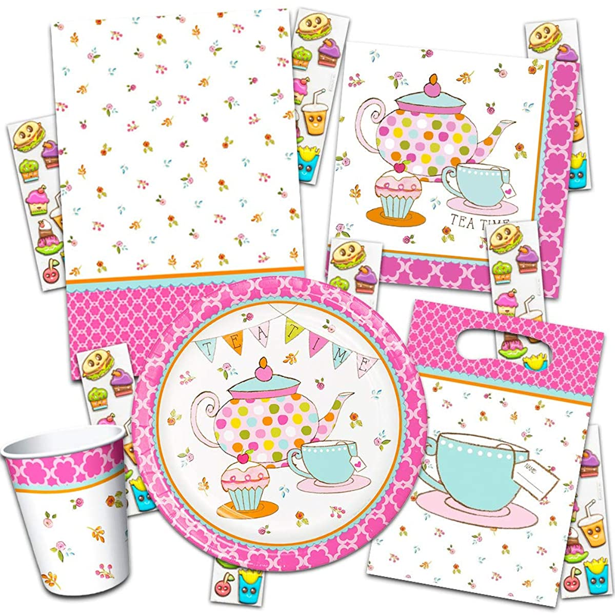 Tea Time Party Supplies Ultimate Set ~ Birthday Party Decorations, Party Favors, Plates, Cups, Napkins and More (Tea Time Party Supplies)