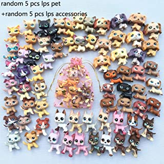 LPSTREE Lot 5 Random LPS Cat Dog LPS Great Dane LPS Shorthair Cat LPS Collie LPS Cocker Spaniel LPS Dachshund Puppy with Accessories Lot 5 Random Collar Food Drink Bone Toy Figure Surprise