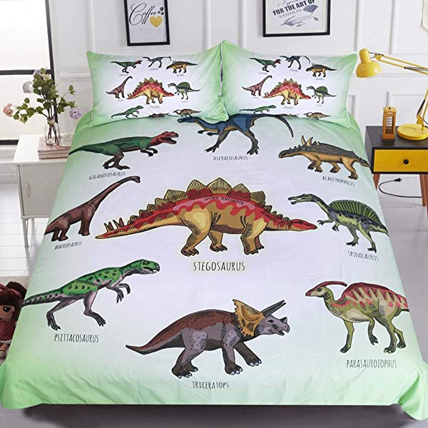 Sleepwish Dinosaur Duvet Cover Dino Bedding Twin Kids Boys Girls Bed Set Green White Ancient Animal Comforter Cover Super Soft 3 Pieces With 2 Pillow Cases