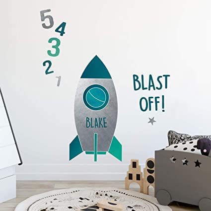 Personalised Blast Off Rocket Wall Sticker Space Wall Stickers Perfect For A Creating A Space Themed Room Amazon Co Uk Kitchen Home