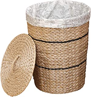 ZTMN Stockage de Jouet de vêtements de Maison de rotin de paniers de blanchisserie avec la poignée de Couvercle 39 * 31 * ...