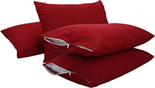 Healing Crystals India Cotton Terry Waterproof Pillow Protector, 18 x 28 inches (Maroon, 4)