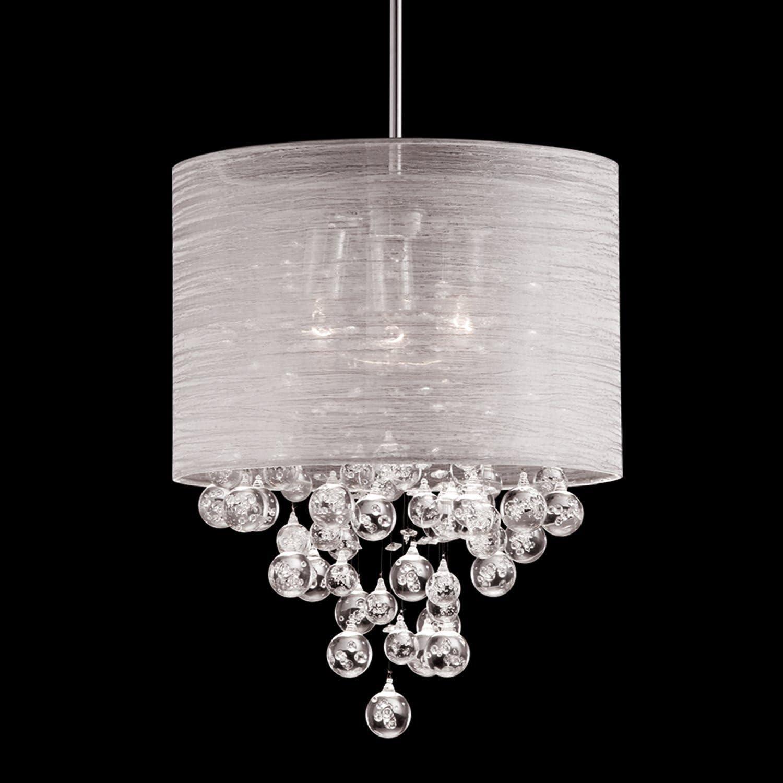 Drum Round Fabric Cloth Shade 3 Lamp Mini Pendant Crystal Teardrops Balls Ceiling Light Dia 15