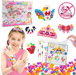 GAMZOO Magic Beads No Iron Assorted Water Fuse Beads for Kids Kit with Pegboards, Birthday Arts and Crafts Gifts for 5 6 7 8 9 Year Old Girls School Age Friendship Beads Jewelry Toys Set
