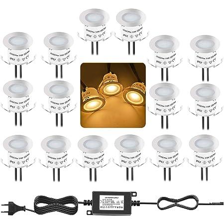 Bojim Lot de 16 Mini Spots LED Encastrables IP67 Étanche, Blanc Chaud, Ø 33 mm, Spot Extérieur pour Terrasse, Éclairage de Terrasse pour Cuisine, Jardin, Escaliers, Deck en Bois, Éclairage Extérieur