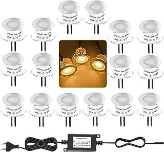 Bojim Lot de 16 Mini Spots LED Encastrables IP67 Étanche, Blanc Chaud, Ø 33 mm, Spot Extérieur pour Terrasse, Éclairage de...