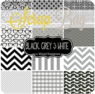 Southern Fabric Black, White and Grey Scrap Bag (Approx 2 Yards) by Mixed Designers DIY Quilt Fabric