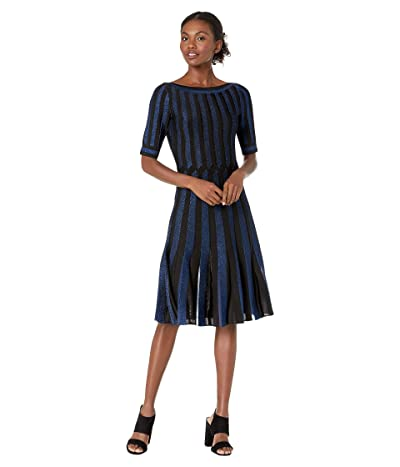 Zac Posen Contrast Cross Cable Knit Fit-and-Flare Dress (Black/Royal Blue) Women