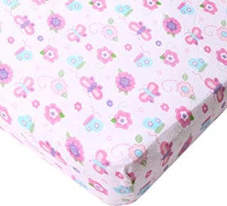 Big Oshi Fitted Mini Crib Sheet - for Portable Cribs or Mini Cribs - Fits Mattresses up to 3 Inches Deep - Knitted, 100% Cotton, Pink Butterflies and Flowers Pattern, Pink