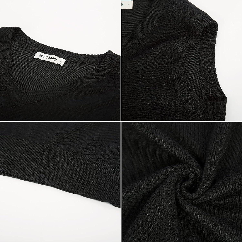 GRACE KARIN Women Classic V-Neck Sleeveless Pullover Knit Sweater Vest Tops