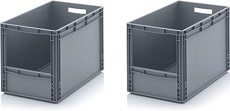 2x Euro Sichtlagerkasten 60 x 40 x 42 cm inkl. gratis Zollstock * Eurobehälter mit Fenster