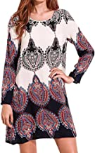 Alluing Cotton Soft Women Long Sleeve Party Sundress Boho Floral Short Mini Dress