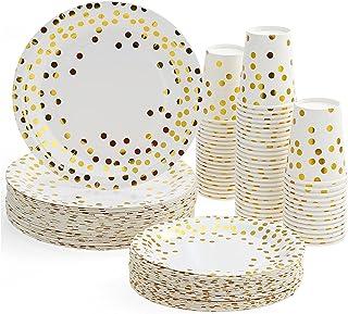 "Gamogo Paper Cups,30Pcs 9Oz Paper Cups + 30Pcs 7"" Plates + 30Pcs 9"" Plates Set Of 90Pcs Disposable Drinkware & Dishware Wi..."