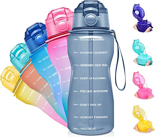 Giotto Large Half Gallon/64oz Motivational Water Bottle with Time Marker & Straw,Leakproof Tritan BPA Free Water Jug,...