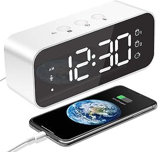 MOSUO LED digital väckarklocka, laddningsbar sänglampa med röstinspelare och USB-port, spegel tickar inte, snooze, 3 ljusd...