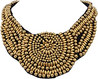 Womens Tribal Ethnic Colorful Golden Beaded Bib Aztec Sun Scallop Edge Statement Necklace