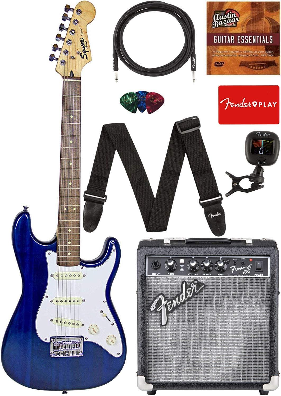 Max 72% OFF Fender Squier Short Scale Stratocaster Blue - shopping Bundle Transparent