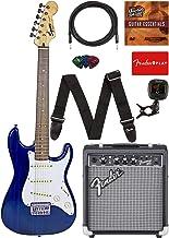 Fender Squier Short Scale Stratocaster - Transparent Blue Bundle with Frontman 10G Amp, Cable, Tuner, Strap, Picks, Fender...