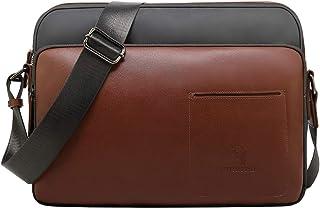 CUIBIRD Men's Small Leather Casual Cross Body Bag Mini Canvas Messenger Bag IPAD Men's Shoulder Bag
