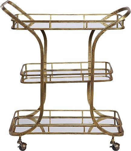"high quality Uttermost Stassi 33"" lowest Wide Antiqued Gold Serving outlet sale Cart outlet online sale"