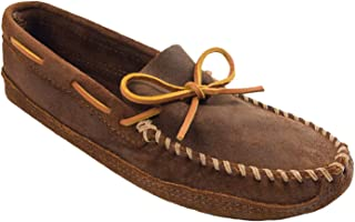 Minnetonka Men's Suede Moccasin Slippers, Double Bottom Softsole Moc Slip-on
