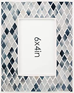 Rich Life Picture Frame 4 x 6 Wood Photo Frames, Handmade Glass Mosaic Photo Frame, Display Vertically and Horizontally on Desktop or Tabletop, Ideal for Home Decoration