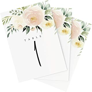 Bliss Collections Blush Floral Table Numbers, 1-25, Centerpiece Decorations, Double Sided 4x6, Floral, Blush, Merlot and Greenery Style Design, Numbers 1-25 and Head Table Card Included