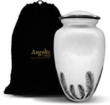 White Decorative Funeral Cremation Urn - Large Size For Adult Human Ashes - Vase Shaped with an Elegant Finish & Silver Fe...