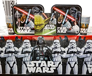 Classic Star Wars Birthday Party Supplies Pack for 16 Guests   Straws, 16 Dinner Plates, 16 Luncheon Napkins, 16 Cups, and Table Cover   Celebrate With Luke Skywalker, Han Solo, Darth Vader, and Yoda