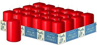 Hyoola Velas rojas del pilar de 2 x 3 pulgadas, paquete de 24 velas de pilar a granel sin perfume, hechas en Europa