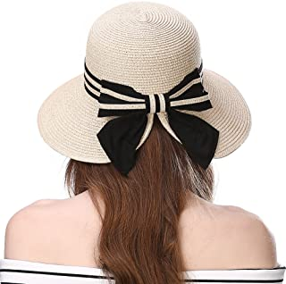Jeff & Aimy Foldable Straw Summer Sun Hat for Women SPF 50 Wide Brim Stylish Panama Fedora Cruise Travel Beach Hat