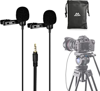 Mouriv CM208 TRS Dual-head Lavalier Microphone Clip-on mini Omnidirectional Condenser mic interview microphone for DSLR Ca...